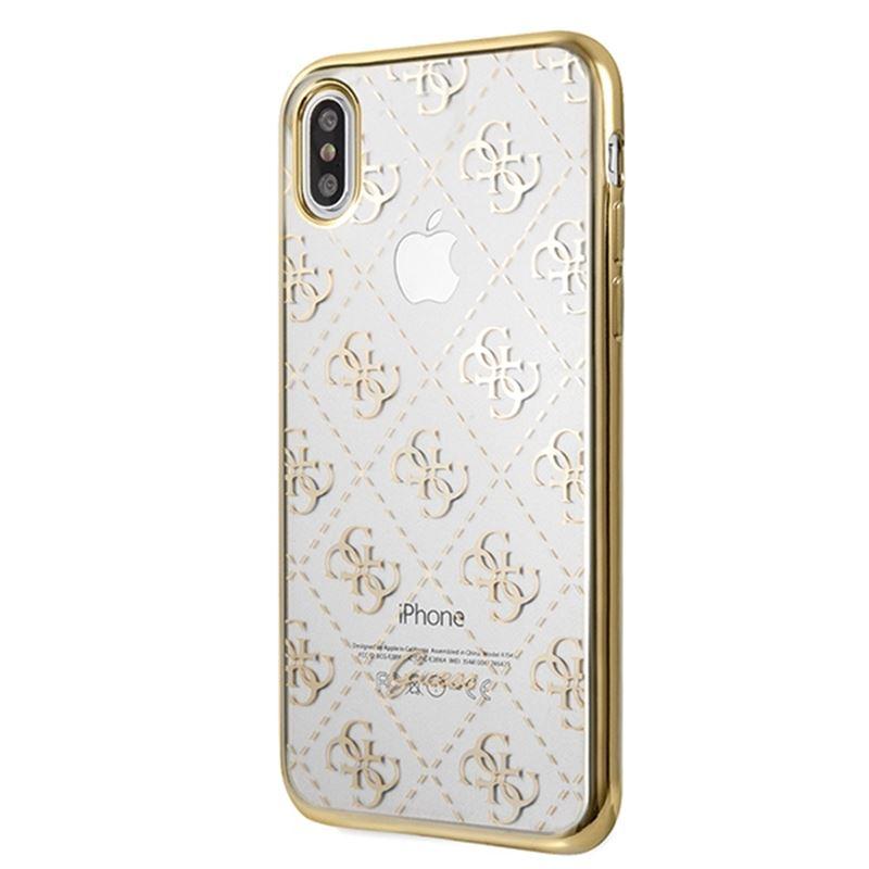 Guess 4G Transparent - Etui iPhone Xs Max (złoty)
