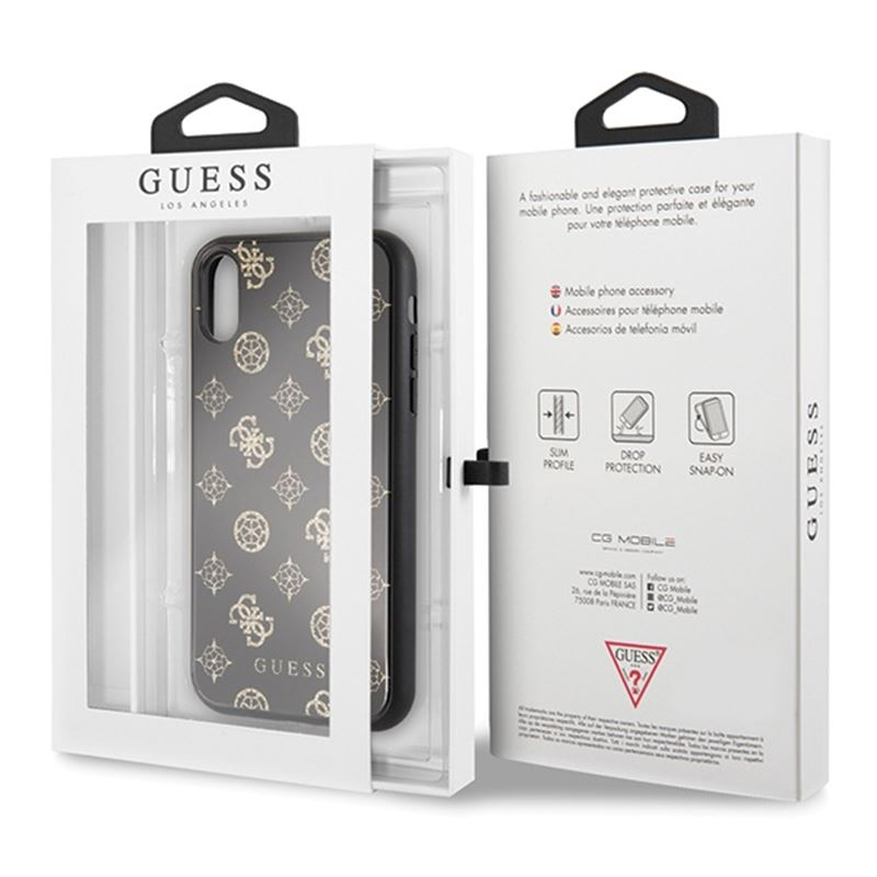 Guess Double Layer Glitter Case Peony G - Etui iPhone XR (Black)