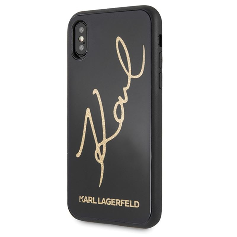 Karl Lagerfeld Double Layers Glitter Signature Case- Etui iPhone XS / X (Black)