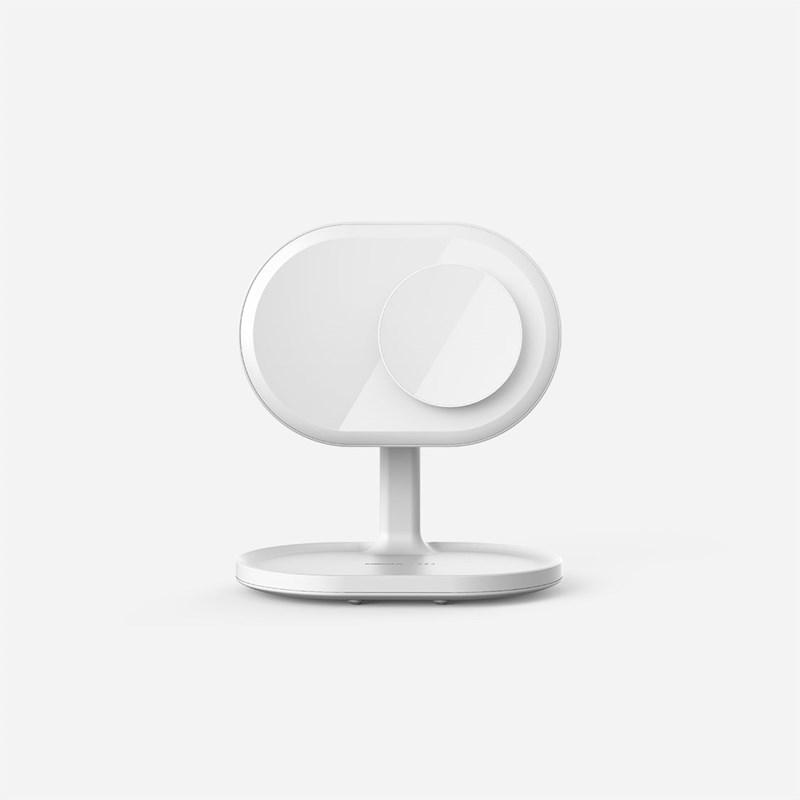 Momax Q.LED Mirror Charging Lamp - Lustro do makijażu z ładowarką indukcyjną i głośnikiem Bluetooth (White)