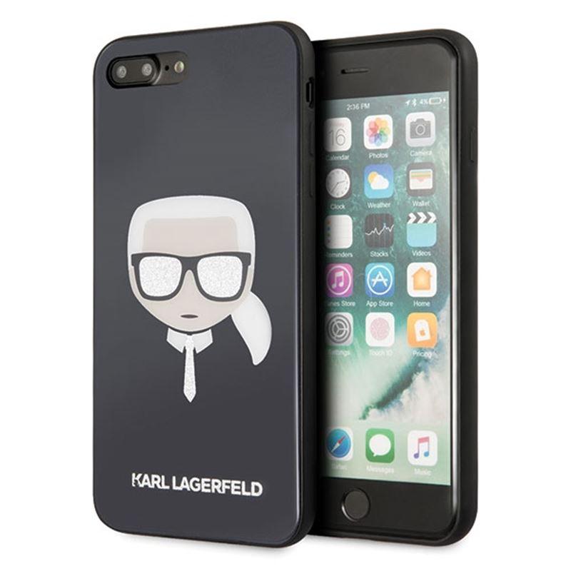 Karl Lagerfeld Karl's Head Double Layers Glitter Case - Etui iPhone 8 Plus / 7 Plus (Black)