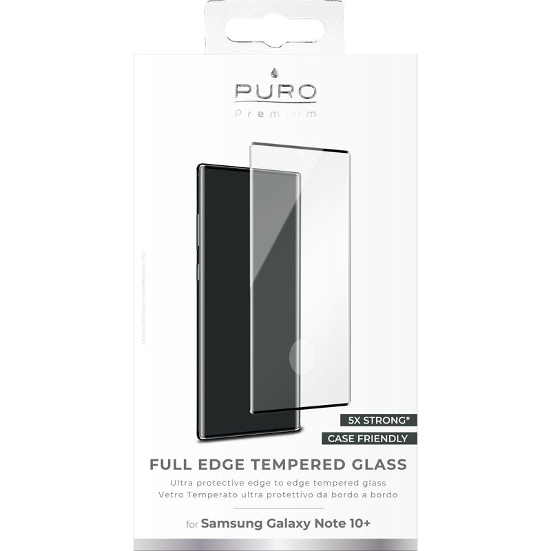PURO Premium Full Edge Tempered Glass Case Friendly - Szkło ochronne hartowane na ekran Samsung Galaxy Note 10+ (czarna ramka)
