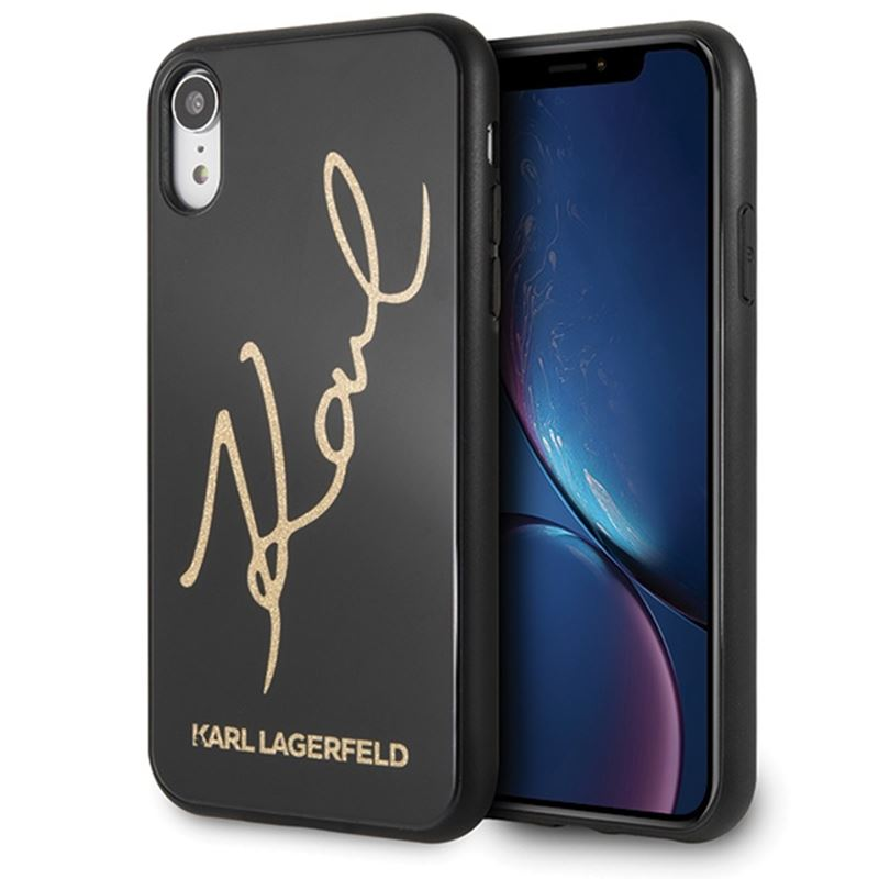 Karl Lagerfeld Double Layers Glitter Signature Case -  Etui iPhone XR (Black)