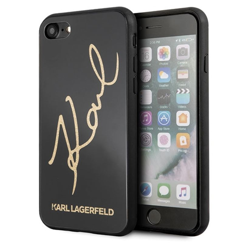 Karl Lagerfeld Double Layers Glitter Signature Case -  Etui iPhone 8 / 7 (Black)