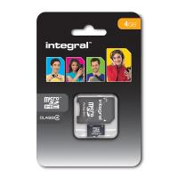 Integral karta pamięci 4 GB micro SDHC Cards Class 4 with Adapter to SD Card