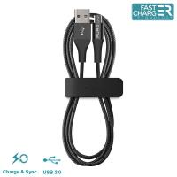 PURO Braided Cable - Kabel Micro USB + klips + Aluminum Connector 1m (Black)