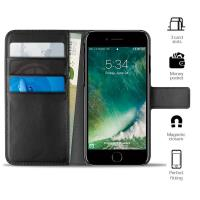 PURO Booklet Wallet Case - Etui iPhone 8 / 7 / 6s / 6 z kieszeniami na karty + stand up (czarny)