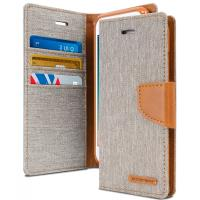 Mercury Canvas Diary - Etui iPhone 7 z kieszeniami na karty + stand up (szary/camel)