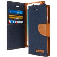 Mercury Canvas Diary - Etui iPhone 7 Plus z kieszeniami na karty + stand up (granatowy/camel)