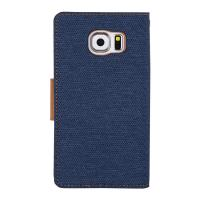 Mercury Canvas Diary - Etui iPhone 7 z kieszeniami na karty + stand up (granatowy/camel)