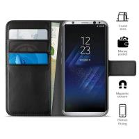 PURO Booklet Wallet Case - Etui Samsung Galaxy S8+ z kieszeniami na karty + stand up (czarny)