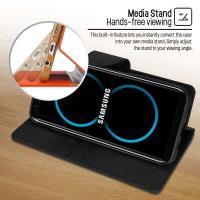 Mercury Canvas Diary - Etui Samsung Galaxy S8+ z kieszeniami na karty + stand up (czarny)