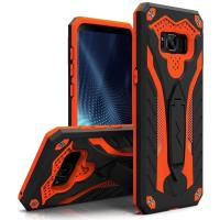 Zizo Static Cover - Pancerne etui Samsung Galaxy S8+ z podstawką (Black/Orange)
