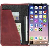 Krusell Sunne 4 Card FolioWallet - Skórzane etui iPhone X z kieszeniami na karty + stand up (Red)
