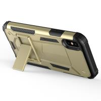 Zizo Hybrid Transformer Cover - Pancerne etui iPhone X z podstawką (Gold/Black)