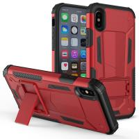 Zizo Hybrid Transformer Cover - Pancerne etui iPhone X z podstawką (Red/Black)