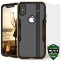 Zizo Shock Case - Pancerne etui iPhone X z hartowanym szkłem na ekran (Gold/Brown)