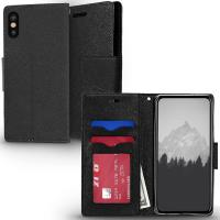 Zizo Flap Wallet Pouch - Etui iPhone X z kieszeniami na karty + stand up (Black/Black)