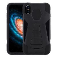 Zizo Dual Layered Hybrid Cover - Pancerne etui iPhone X z podstawką (Black)