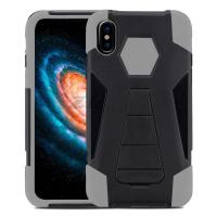 Zizo Dual Layered Hybrid Cover - Pancerne etui iPhone X z podstawką (Gray)