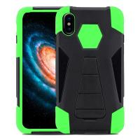 Zizo Dual Layered Hybrid Cover - Pancerne etui iPhone X z podstawką (Neon Green)