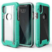 Zizo ION Cover - Pancerne etui iPhone X + szkło 9H na ekran (Teal/ Clear)