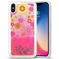 Zizo Liquid Glitter Star Case - Etui iPhone X (Multiflowers)