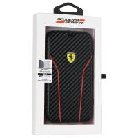 Ferrari Racing Carbon Book - Etui iPhone X z kieszeniami na karty (czarny)