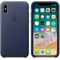 Apple Leather Case - Skórzane etui iPhone X (nocny błękit)