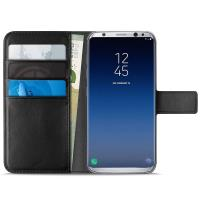 PURO Booklet Wallet Case - Etui Samsung Galaxy S9 z kieszeniami na karty + stand up (czarny)