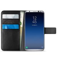 PURO Booklet Wallet Case - Etui Samsung Galaxy S9+ z kieszeniami na karty + stand up (czarny)