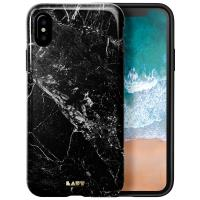Laut HUEX ELEMENTS - Etui iPhone Xs / X z 2 foliami na ekran w zestawie (Marble Black)