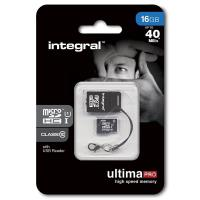 Integral UltimaPro - Karta pamięci 16GB microSDHC/XC 40MB/s Class 10 UHS-I U1 + USB Card Reader