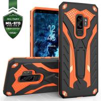 Zizo Static Cover - Pancerne etui Samsung Galaxy S9+ z podstawką (Black/Orange)
