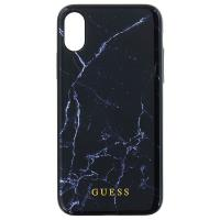 Guess Marble - Etui iPhone X (czarny)