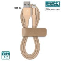 PURO Braided Cable - Kabel MFi z Lightning + klips + Aluminum Connector 1m (Gold)