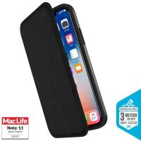 Speck Presidio Folio Leather - Etui skórzane iPhone X z kieszenią na karty + stand up (Black/Black)