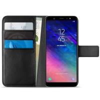 PURO Booklet Wallet Case - Etui Samsung Galaxy A6+ (2018) z kieszeniami na karty + stand up (czarny)