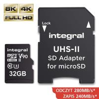 Integral UltimaPro X2 - Karta pamięci 32GB microSDHC/XC 280/240 MB/s Class 10 UHS-II + Adapter