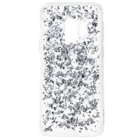 PURO Glam Ice Light Cover - Etui Samsung Galaxy S9 z metalicznymi elementami srebra