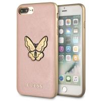 Guess Butterfly Saffiano - Etui iPhone 8 Plus / 7 Plus (różowy/złoty)