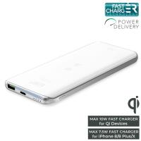 PURO Wireless Slim Power Bank - Power Bank 8000 mAh z ładowaniem indukcyjnym Qi do iPhone i Android, 10 W (biały)