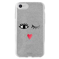 PURO Glitter EYES Shine Cover - Etui iPhone 8 / 7 / 6s / 6 (Silver) Limited edition