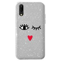 PURO Glitter EYES Shine Cover - Etui Huawei P20 (Silver) Limited edition