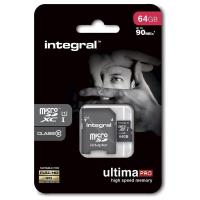 Integral UltimaPro - Karta pamięci 64GB microSDXC 90MB/s Class 10 UHS-I U1 + Adapter