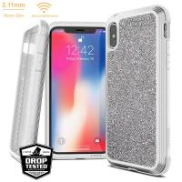 X-Doria Defense Lux - Etui aluminiowe iPhone Xs / X (Drop test 3m) (White Glitter)