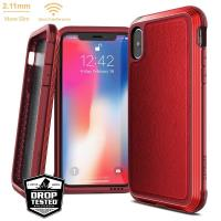 X-Doria Defense Lux - Etui aluminiowe iPhone Xs / X (Drop test 3m) (Red Leather)