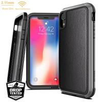 X-Doria Defense Lux - Etui aluminiowe iPhone XR (Drop test 3m) (Black Leather)