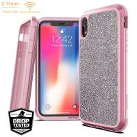 X-Doria Defense Lux - Etui aluminiowe iPhone XR (Drop test 3m) (Pink Glitter)