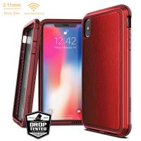 X-Doria Defense Lux - Etui aluminiowe iPhone Xs Max (Drop test 3m) (Red Leather)